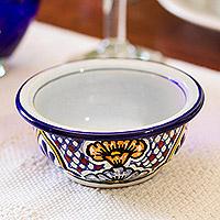 Ceramic dessert bowls, 'Sunshine Kaleidoscope' (pair) - Floral Mexican Talavera Style Dessert Bowls (Pair)