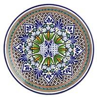 Talavera ceramic serving plate, 'Garden Kaleidoscope'