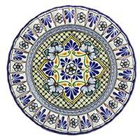 Ceramic dinner plate, 'Green Floral Duchess' - Mexican Floral Ceramic Green Blue Dinner Plate