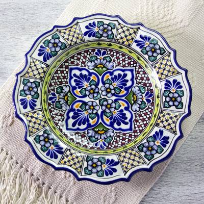 Talavera ceramic plate, 'Cobalt Bouquet' - Artisan Crafted Talavera Floral Ceramic Plate from Mexico