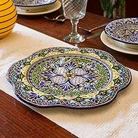 Ceramic serving plate, 'Green Duchess' - Artisan Crafted Handcrafted Floral Ceramic Platter Serveware