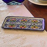 Ceramic serving plate, 'Blossoming Symmetry' (8.5 inch) - Artisan Crafted Talavera Style Ceramic Serving Plate