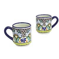 Ceramic mugs, 'Puebla Petunias' (set of 2) - Colorful Set of 2 Mexican Majolica Floral Ceramic Mugs