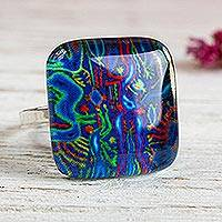 Art glass cocktail ring, 'Blue Huichol' - 925 Silver Cocktail Ring with Art Glass Blue Huichol Images