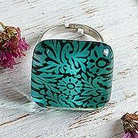 Art glass cocktail ring, 'Oaxaca Wonder' - Oaxaca Style Birds and Flowers on Art Glass Cocktail Ring