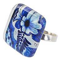 Art glass cocktail ring, 'Talavera Fantasy' - Modern Talavera Pattern Ring in Glass on 925 Sterling Silver