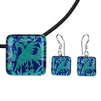 Art glass jewelry set, 'Blue Tenango' - Birds and Butterflies Artisan Crafted Art Glass Jewelry Set