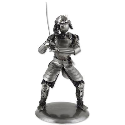 handcrafted recycled metal samurai sword warrior sculpture rustic