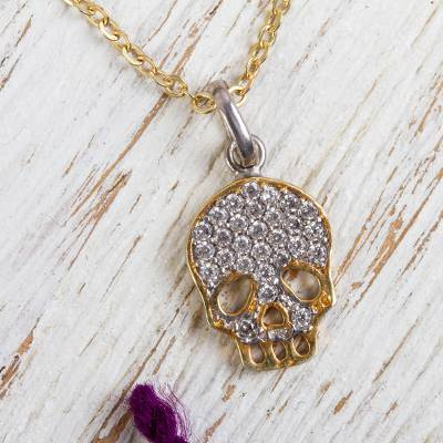 Gold plated pendant necklace, 'Skeleton Glitz' - Handcrafted Gold Plated Cubic Zirconia Skeleton Necklace