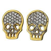 Gold and rhodium plated sterling silver button earrings, 'Skeleton Glitz' - Skeleton Earrings in Gold Plate with Cubic Zirconia