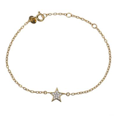 Gold Plated Star Theme Bracelet with Cubic Zirconia