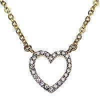 Gold plated pendant necklace, 'Glamorous Heart' - Gold Plated Cubic Zirconia Handmade Heart Pendant Necklace