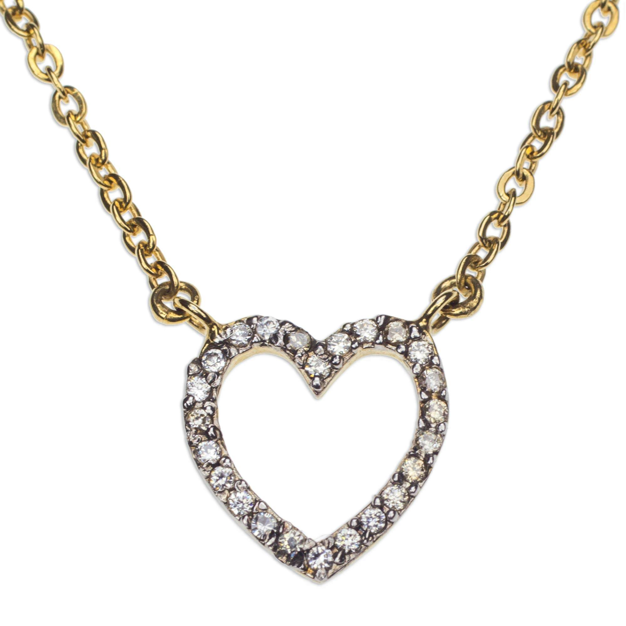 160834395f961 Gold Plated Cubic Zirconia Handmade Heart Pendant Necklace, 'Glamorous  Heart'