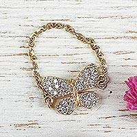 Gold plated cocktail ring, 'Butterfly Sparkle' - Gold Plated Cubic Zirconia Butterfly Theme Cocktail Ring