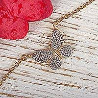 Gold plated pendant necklace, 'Butterfly Sparkle' - Butterfly Theme Adjustable Gold Plated Necklace with CZ