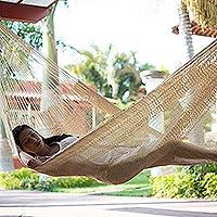 Natural fiber hammock, 'Sansevieria' (double) - Hand Woven Natural Fiber Beige Hammock (Double)