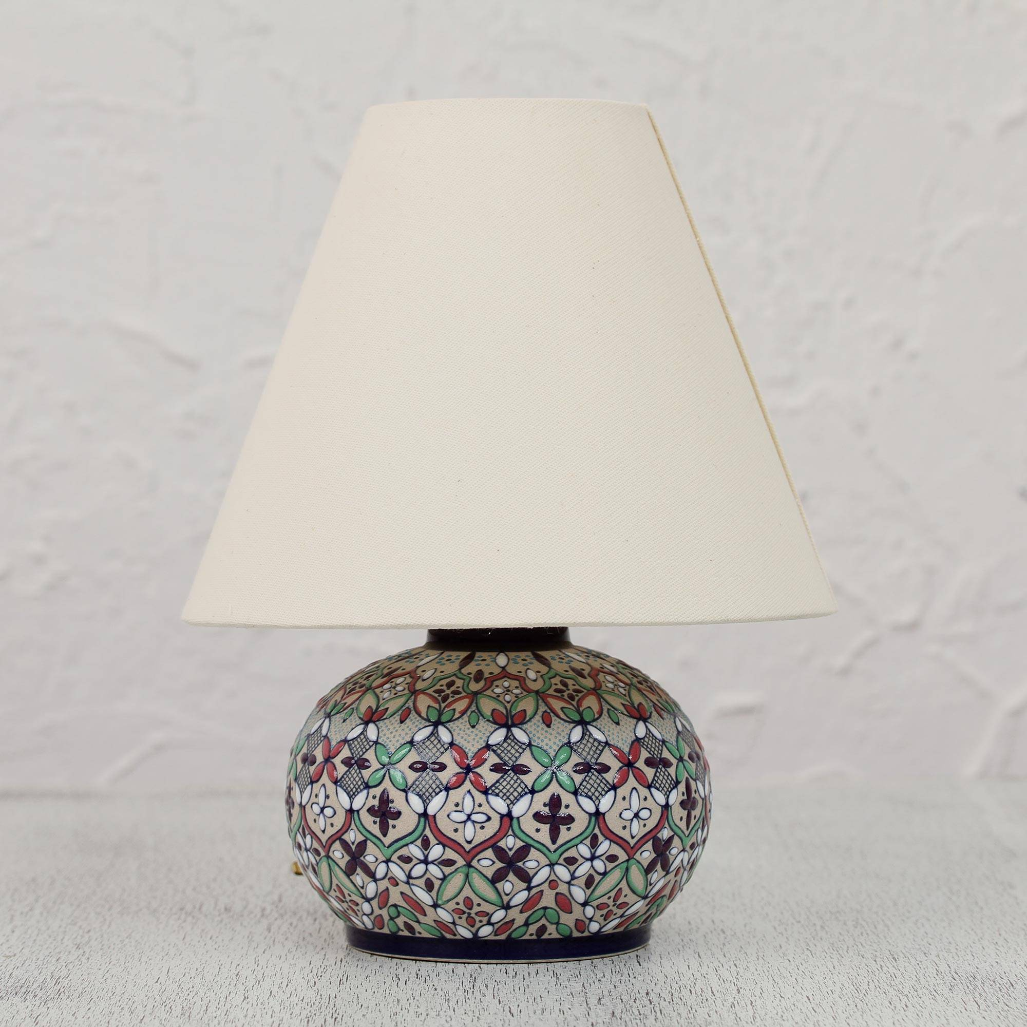 Colorful Ceramic Table Lamp And Shade Handcrafted In Mexico, U0027Guanajuato  Wildflowersu0027