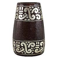 Copper and silver vase, 'Flames of Curicaueri' - Pre-Hispanic Motif Handcrafted Copper Vase with Silver 925