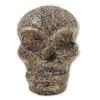 Ceramic sculpture, 'Aztec Skull Trophy' - Artisan Crafted Ceramic Aztec Skull Trophy Sculpture