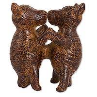 Ceramic sculpture, 'Aztec Dancing Dogs' (9 inch) - Artisan Crafted Ceramic Sculpture of Dancing Dogs (9 inch)