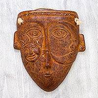 Ceramic mask, 'Amused Eclipse' - Pre Hispanic Art Style Ceramic Wall Mask Eclipse Face