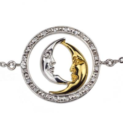 Sterling Silver Gold Plated Crescent Moon Cubic Zirconia Pendant Bracelet