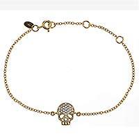 Gold plated link bracelet, 'Skeleton Glitz' - Gold Plated Skeleton Bracelet with Cubic Zirconia