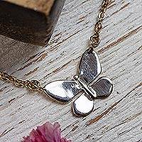 Gold and rhodium plated sterling silver pendant necklace, 'Butterfly Queen' - 22k Gold and Rhodium Plated Butterfly Necklace from Mexico