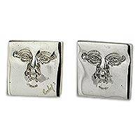 Sterling silver button earrings, 'Silver Mask' - Square Masks Sterling Silver Earrings Artisan Jewelry