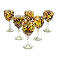 Blown glass wine glasses, 'Amber Fantasy' (set of 6) - 6 Blown Glass Amber Polka Dot Wine Glasses Crafted by Hand