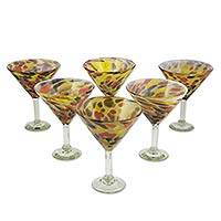 Blown glass martini glasses, 'Amber Fantasy' (set of 6) - 6 Hand Crafted Blown Glass Amber Polka Dot Martini Glasses
