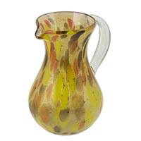 Blown glass pitcher, 'Amber Fantasy' - Blown Glass 77 oz Pitcher Amber Color Crafted by Hand
