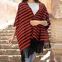 Cotton rebozo shawl, 'Volcanic Diamonds' - Natural Red and Black Mexican Rebozo Shawl Hand Woven Wrap