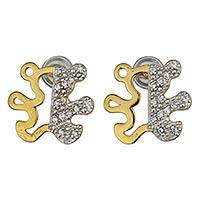 Gold plated button earrings, 'Teddy Bear Glam' - Gold Plated Teddy Bear Earrings with Cubic Zirconia