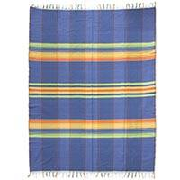 Cotton tablecloth, 'Happy Awakening' - 100% Cotton Hand Woven Multi-colored Zapotec Tablecloth