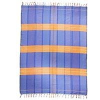 Cotton tablecloth, 'Morning Sun' - Artisan Crafted 100% Cotton Blue and Orange Tablecloth