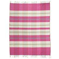 Cotton tablecloth, 'Pink Breeze' - Hand Woven 100% Cotton Multi-Colored Zapotec Tablecloth