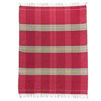 Cotton tablecloth, 'Passion' - 100% Cotton Red Handmade Zapotec Tablecloth with Fringe