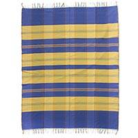 Cotton tablecloth, 'Daybreak' - 100% Cotton Blue and Yellow Zapotec Tablecloth with Fringe