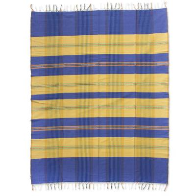 100 Cotton Blue And Yellow Zapotec Tablecloth With Fringe Daybreak Novica