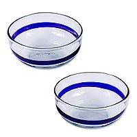 Handblown glass bowls, 'Cobalt Band' (pair) - Recycled Hand Blown Clear Bowls with Cobalt (Pair)
