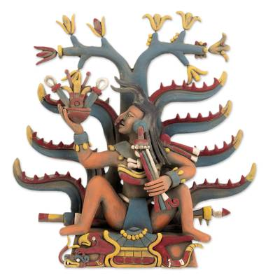Ceramic sculpture, 'Mayahuel Fertility Goddess' - Aztec Fertility Goddess Ceramic Replica Sculpture
