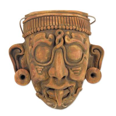 Ceramic mask, 'Maya Lord Kinich Aha' - Maya God of Sun Ceramic Wall Mask Replica Crafted by Hand