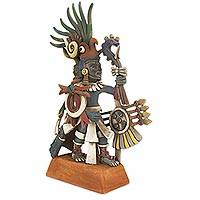 Ceramic sculpture, 'Huitzilopochtli' (10 inch) - Mexican Aztec War God 10-in Archaeological Ceramic Sculpture