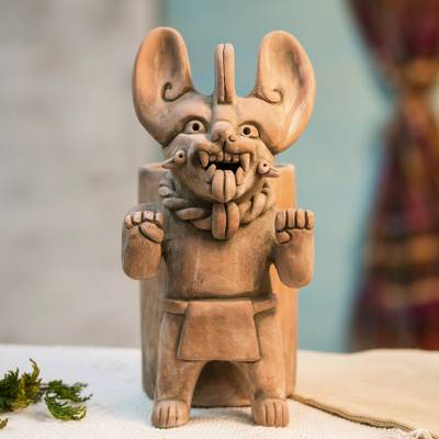Ceramic vessel, 'Zapotec Bat Deity Urn II' - Artisan Crafted Ceramic Urn with Zapotec Deity