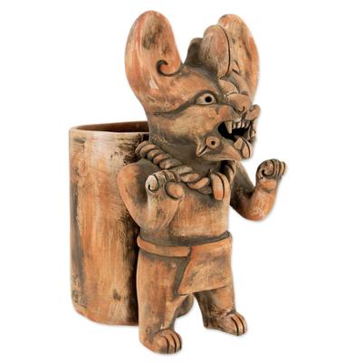Ceramic vessel, 'Zapotec Bat Deity Urn II' - Artisan Crafted Ceramic Urn with Zapotec Deity