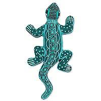 Ceramic wall adornment, 'Turquoise Lizard' - Mexican Handpainted Ceramic Turquoise Lizard Wall Sculpture