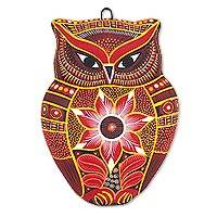 Ceramic wall adornment, 'Wild Owl' - Hand Painted Mexican Artisan Wise Owl Ceramic Wall Plaque in