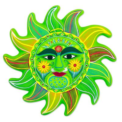 Ceramic wall adornment, 'Fresh April Sun' - Bright Green Signed Ceramic Sun Wall Sculpture from Mexico
