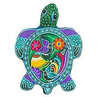 Ceramic wall adornment, 'Tropical Sea Turtle' - Tropical Ceramic Sea Turtle Wall Art from Mexico
